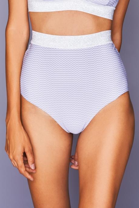 High-waist White Pattern Bottom