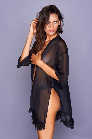 Cassandra Kimono Black Fringe