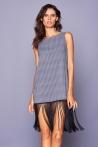 Elettra Fringe Black Pattern Dress