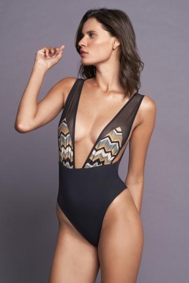 Dafne Swimsuit Gold Pattern