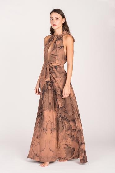 Cleta Long Dress Pink Marble
